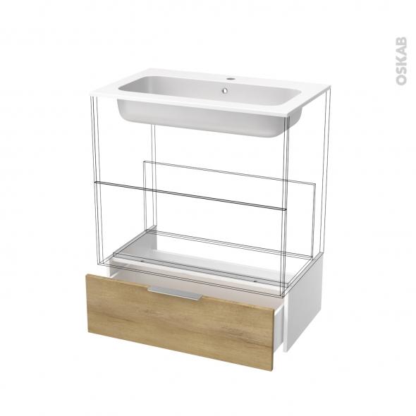 Tiroir sous meuble - Socle n°101 - HOSTA Chêne Naturel - pour meuble salle de bains - L80 x H26 x P45 cm