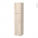 Colonne de salle de bains - 2 portes - IKORO Chêne clair - Côtés décors - Version A - L40 x H182 x P40 cm