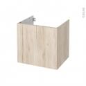 Meuble de salle de bains - Sous vasque - IKORO Chêne clair - 1 porte - Côtés décors - L60 x H57 x P50 cm