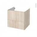 Meuble de salle de bains - Sous vasque - IKORO Chêne clair - 2 tiroirs - Côtés décors - L60 x H57 x P50 cm