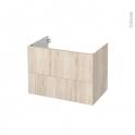 Meuble de salle de bains - Sous vasque - IKORO Chêne clair - 2 tiroirs - Côtés décors - L80 x H57 x P50 cm