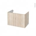 Meuble de salle de bains - Sous vasque - IKORO Chêne clair - 2 portes - Côtés décors - L80 x H57 x P50 cm