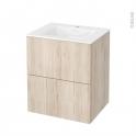 Meuble de salle de bains - Plan vasque VALA - IKORO Chêne clair - 2 tiroirs - Côtés décors - L60,5 x H71,2 x P50,5 cm