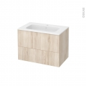 Meuble de salle de bains - Plan vasque REZO - IKORO Chêne clair - 2 tiroirs - Côtés décors - L80,5 x H58,5 x P50,5 cm