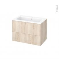 Meuble de salle de bains - Plan vasque NAJA - IKORO Chêne clair - 2 tiroirs - Côtés décors - L80,5 x H58,5 x P50,5 cm