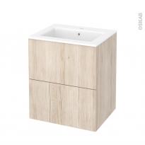 Meuble de salle de bains - Plan vasque NAJA - IKORO Chêne clair - 2 tiroirs - Côtés décors - L60,5 x H71,5 x P50,5 cm