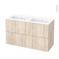Meuble de salle de bains - Plan double vasque NAJA - IKORO Chêne clair - 4 tiroirs - Côtés décors - L120,5 x H71,5 x P50,5 cm
