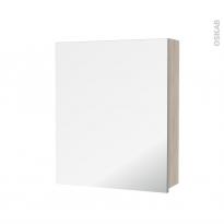 Armoire de toilette - Rangement haut - IKORO Chêne clair - 1 porte miroir - Côtés décors - L60 x H70 x P17 cm