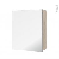 Armoire de salle de bains - Rangement haut - IKORO Chêne clair - 1 porte miroir - Côtés décors - L60 x H70 x P27 cm