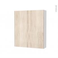 Armoire de toilette - Rangement haut - IKORO Chêne clair - 1 porte - Côtés blancs - L60 x H70 x P17 cm