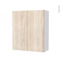 Armoire de salle de bains - Rangement haut - IKORO Chêne clair - 1 porte - Côtés blancs - L60 x H70 x P27 cm