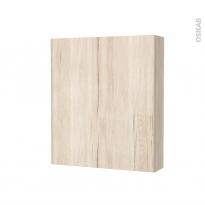 Armoire de toilette - Rangement haut - IKORO Chêne clair - 1 porte - Côtés décors - L60 x H70 x P17 cm