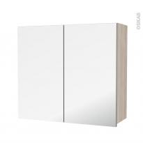 Armoire de salle de bains - Rangement haut - IKORO Chêne clair - 2 portes miroir - Côtés décors - L80 x H70 x P27 cm