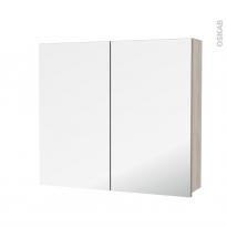 Armoire de toilette - Rangement haut - IKORO Chêne clair - 2 portes miroir - Côtés décors - L80 x H70 x P17 cm