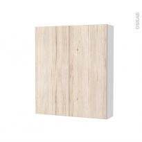 Armoire de toilette - Rangement haut - IKORO Chêne clair - 2 portes - Côtés blancs - L60 x H70 x P17 cm