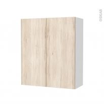 Armoire de salle de bains - Rangement haut - IKORO Chêne clair - 2 portes - Côtés blancs - L60 x H70 x P27 cm