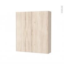 Armoire de toilette - Rangement haut - IKORO Chêne clair - 2 portes - Côtés décors - L60 x H70 x P17 cm