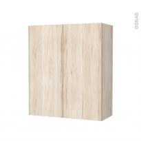Armoire de salle de bains - Rangement haut - IKORO Chêne clair - 2 portes - Côtés décors - L60 x H70 x P27 cm