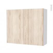 Armoire de salle de bains - Rangement haut - IKORO Chêne clair - 2 portes - Côtés blancs - L80 x H70 x P27 cm
