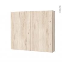 Armoire de toilette - Rangement haut - IKORO Chêne clair - 2 portes - Côtés décors - L80 x H70 x P17 cm