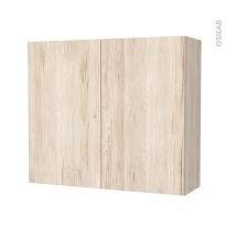 Armoire de salle de bains - Rangement haut - IKORO Chêne clair - 2 portes - Côtés décors - L80 x H70 x P27 cm