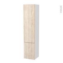 Colonne de salle de bains - 2 portes - IKORO Chêne clair - Côtés blancs - Version B - L40 x H182 x P40 cm