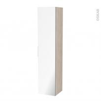 Colonne de salle de bains - 1 porte miroir - IKORO Chêne clair - Côtés décors - L40 x H182 x P40 cm