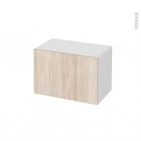 Meuble de salle de bains - Rangement bas - IKORO Chêne clair - 1 porte - L60 x H41 x P37 cm