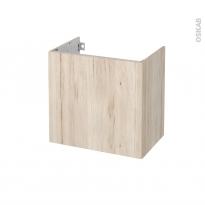 Meuble de salle de bains - Sous vasque - IKORO Chêne clair - 1 porte - Côtés décors - L60 x H57 x P40 cm
