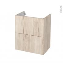 Meuble de salle de bains - Sous vasque - IKORO Chêne clair - 2 tiroirs - Côtés décors - L60 x H70 x P40 cm