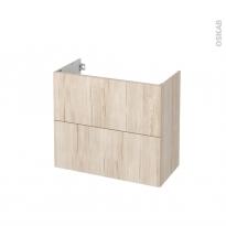 Meuble de salle de bains - Sous vasque - IKORO Chêne clair - 2 tiroirs - Côtés décors - L80 x H70 x P40 cm
