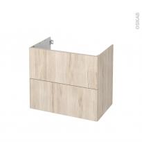 Meuble de salle de bains - Sous vasque - IKORO Chêne clair - 2 tiroirs - Côtés décors - L80 x H70 x P50 cm