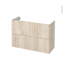 Meuble de salle de bains - Sous vasque - IKORO Chêne clair - 2 tiroirs - Côtés décors - L100 x H70 x P40 cm