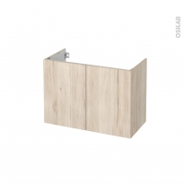 Meuble de salle de bains - Sous vasque - IKORO Chêne clair - 2 portes - Côtés décors - L80 x H57 x P40 cm