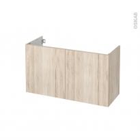 Meuble de salle de bains - Sous vasque - IKORO Chêne clair - 2 portes - Côtés décors - L100 x H57 x P40 cm
