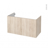 Meuble de salle de bains - Sous vasque - IKORO Chêne clair - 2 portes - Côtés décors - L100 x H57 x P50 cm