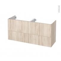 Meuble de salle de bains - Sous vasque double - IKORO Chêne clair - 4 tiroirs - Côtés décors - L120 x H57 x P40 cm