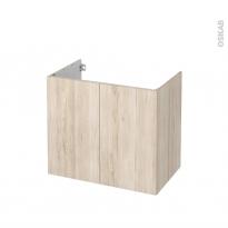 Meuble de salle de bains - Sous vasque - IKORO Chêne clair - 2 portes - Côtés décors - L80 x H70 x P50 cm
