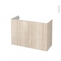 Meuble de salle de bains - Sous vasque - IKORO Chêne clair - 2 portes - Côtés décors - L100 x H70 x P40 cm