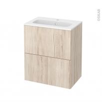 Meuble de salle de bains - Plan vasque REZO - IKORO Chêne clair - 2 tiroirs - Côtés décors - L60,5 x H71,5 x P40,5 cm