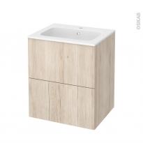 Meuble de salle de bains - Plan vasque REZO - IKORO Chêne clair - 2 tiroirs - Côtés décors - L60,5 x H71,5 x P50,5 cm