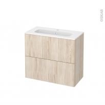 Meuble de salle de bains - Plan vasque REZO - IKORO Chêne clair - 2 tiroirs - Côtés décors - L80,5 x H71,5 x P40,5 cm