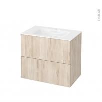 Meuble de salle de bains - Plan vasque VALA - IKORO Chêne clair - 2 tiroirs - Côtés décors - L80,5 x H71,2 x P50,5 cm