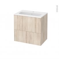 Meuble de salle de bains - Plan vasque REZO - IKORO Chêne clair - 2 tiroirs - Côtés décors - L60,5 x H58,5 x P40,5 cm