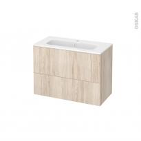 Meuble de salle de bains - Plan vasque REZO - IKORO Chêne clair - 2 tiroirs - Côtés décors - L80,5 x H58,5 x P40,5 cm