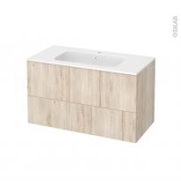 Meuble de salle de bains - Plan vasque REZO - IKORO Chêne clair - 2 tiroirs - Côtés décors - L100,5 x H58,5 x P50,5 cm