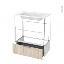 Tiroir sous meuble - Socle n°101 - IKORO Chêne clair - pour meuble salle de bains - L80 x H26 x P45 cm