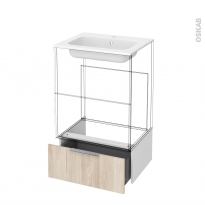 Tiroir sous meuble - Socle n°51 - IKORO Chêne clair - pour meuble salle de bains - L60 x H26 x P45 cm