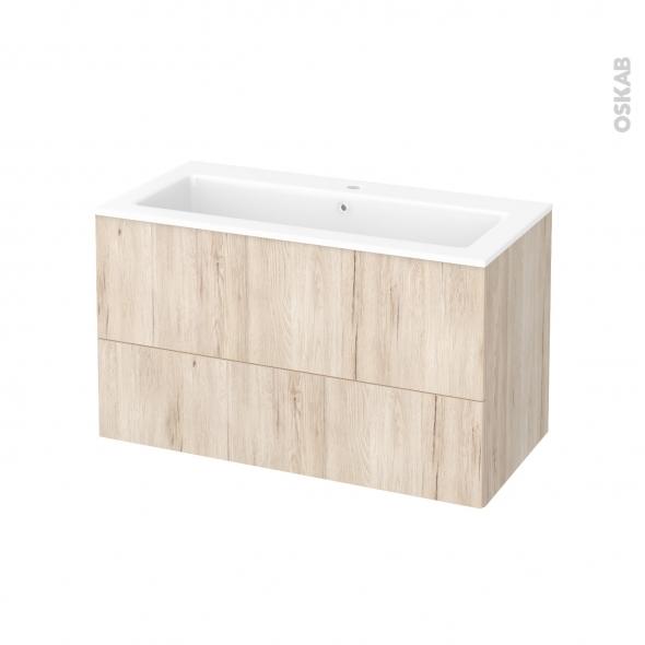 Meuble de salle de bains - Plan vasque NAJA - IKORO Chêne clair - 2 tiroirs - Côtés décors - L100,5 x H58,5 x P50,5 cm