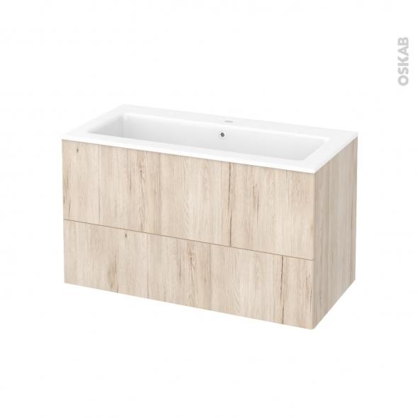 meuble de salle de bains plan vasque naja ikoro ch ne clair 2 tiroirs c t s d cors l100 5 x h58. Black Bedroom Furniture Sets. Home Design Ideas